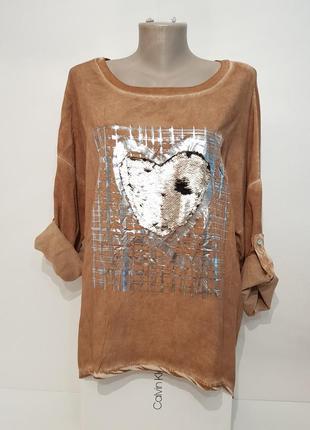 Ультрамодная блуза в стиле бохо your&self вискоза италия оверсайз