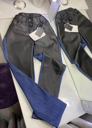 Новые джинсы slim fit с вставками из натуральной кожи b.c. best connection