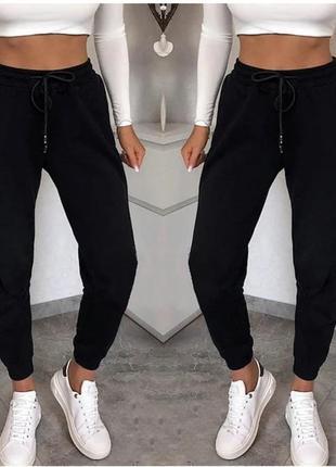 Штаны женские теплые спортивные джогеры на флисе белый, черный, серый, бежевый, пудра