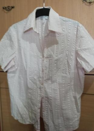Брендовая рубашка - накидка из жатого хлопка