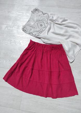 Замшевая плотная малиновая юбка на резинке noisy may