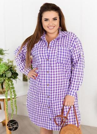 Платье-рубашка с принтом в клетку