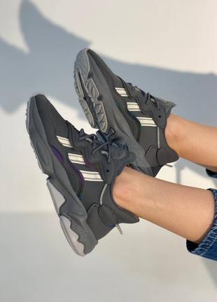 Женские кросовки adidas ozweego dark grey/mint