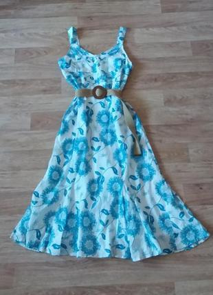 Платье миди в цветочный принт(сарафан), сукня міді, 100% хлопок