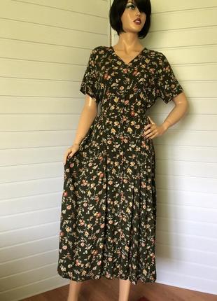 Винтажное вискозное платье миди
