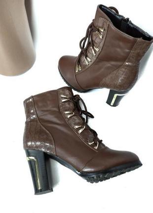 Шикарные зимние сапоги на каблуке со шнуровкой размер 38