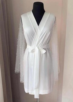 Свадебный халат с жемчугом