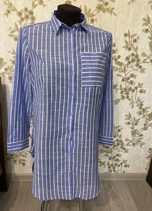 Удлиненная хлопковая рубашка в полоску