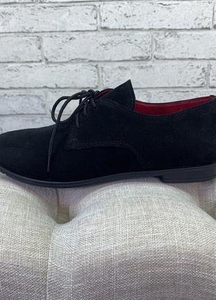 36-41 рр туфли на шнурках низкий ход натуральная кожа/замша5 фото