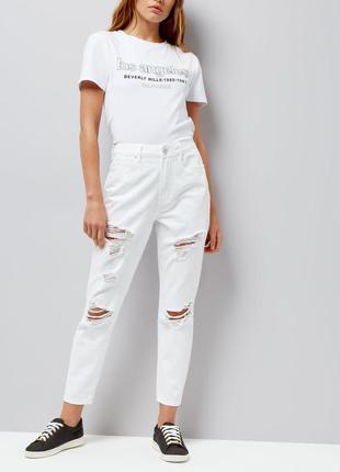 Новые с биркой джинсы мом с потёртостями new look размер м