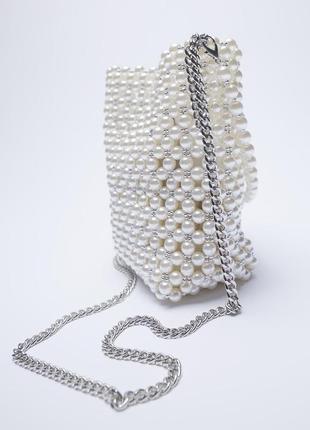 Мини сумка-мешок с бусинами zara2 фото