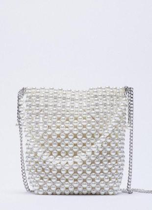 Мини сумка-мешок с бусинами zara