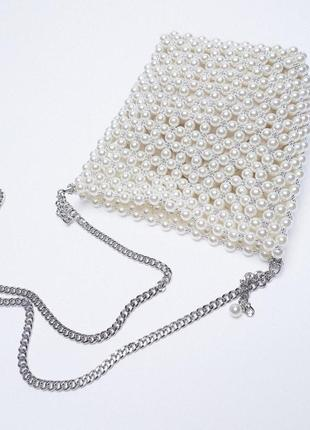 Мини сумка-мешок с бусинами zara3 фото