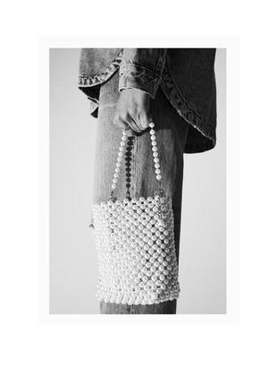 Мини сумка-мешок с бусинами zara5 фото