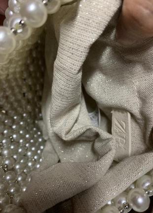 Мини сумка-мешок с бусинами zara7 фото