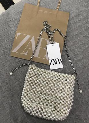 Мини сумка-мешок с бусинами zara10 фото