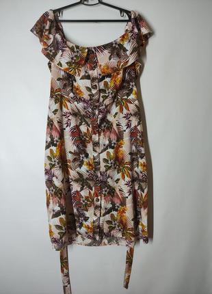 Цветастое платье миди на пуговицах сарафан с открытыми плечами