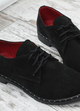 36-41 рр туфли на шнурках низкий ход натуральная кожа/замша1 фото
