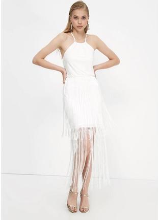 Trendyol ecru пензликом докладне плаття, платье белое
