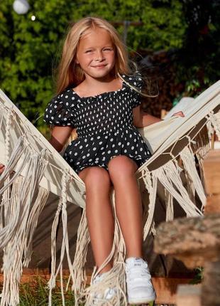 Шифоновое детское короткое платье, мини, черное в горошек, family look фемели лук для мамы и дочки