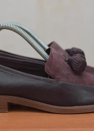 Женские кожаные туфли, лоферы цвета марсала clarks, 37 размер. оригинал