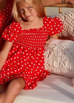 Шифоновое детское короткое платье, мини,  красное в горошек, family look фемели лук для мамы и дочки