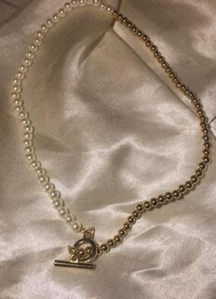 Цепочка цепь на шею из бусинами