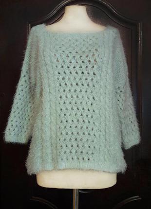 Красивый теплый мятный свитер травка