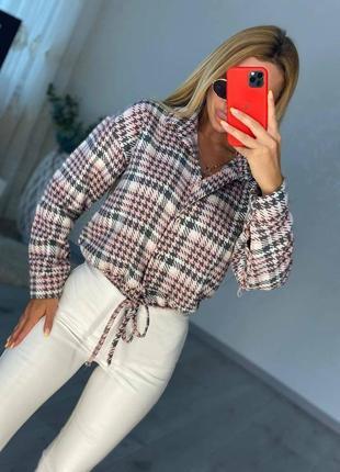 Рубашка шерстяная женская шерсть в клетку оверсайз