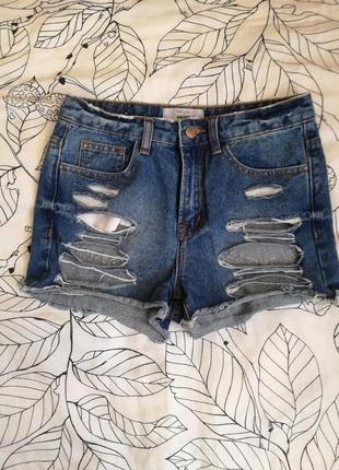 Завышенные джинсовые шорты new look
