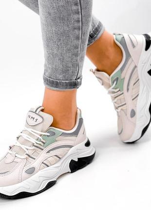 Стильные кроссовки эко кожа + текстиль + рефлектив