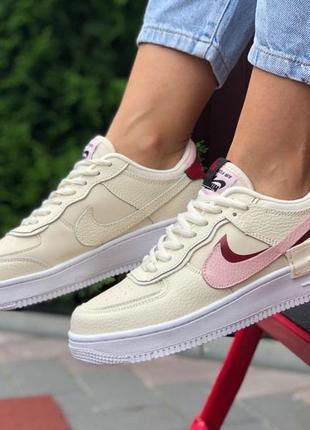 Nike air force 1 shadow🆕женские кожаные кроссовки найк аир форс🆕бежевые с розовым2 фото
