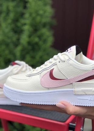 Nike air force 1 shadow🆕женские кожаные кроссовки найк аир форс🆕бежевые с розовым3 фото