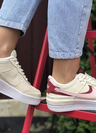 Nike air force 1 shadow🆕женские кожаные кроссовки найк аир форс🆕бежевые с розовым4 фото