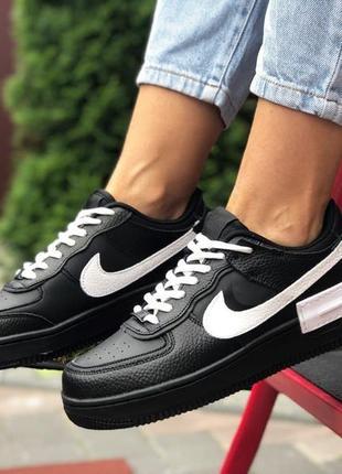 Nike air force 1 shadow🆕женские кожаные кроссовки найк аир форс🆕черно-белые