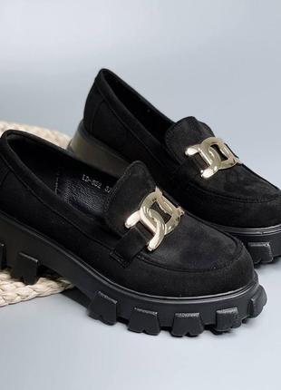 Туфли чёрные эко замша стильные на платформе