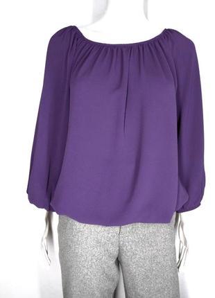 🛍️super sale -50%🛍️легкая фиолетовая фактурная блуза на резинках размер л
