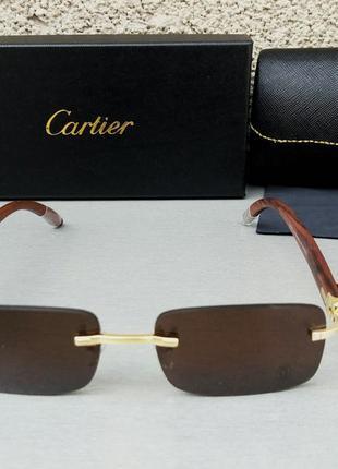Cartier очки унисекс солнцезащитные модные узкие коричневые безоправные дужки дерево
