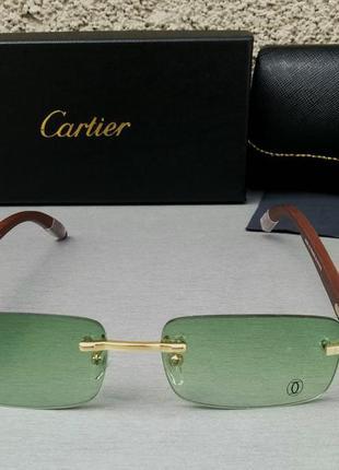Cartier очки унисекс солнцезащитные модные узкие светло зеленые дужки дерево безоправные