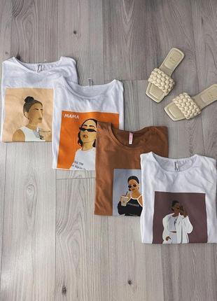 Скидка новая базовая футболка с принтом хлопок