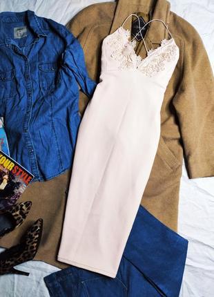 Cameo rose платье персиковое бежевое по фигуре карандаш футляр кружево на бретельках миди