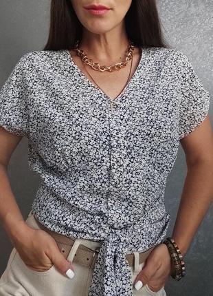 Винтажная блуза топ кроп топ цветочный принт на завязках винтаж ретро