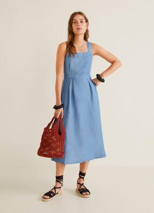 Mango платье миди из денима, xs, s