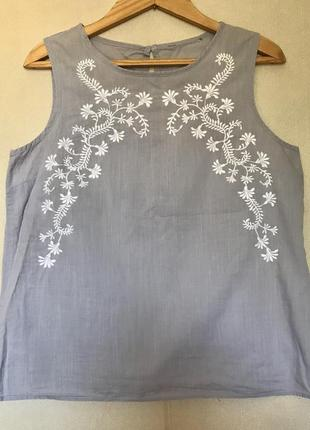 Блуза майка с вышивкой шитье zara