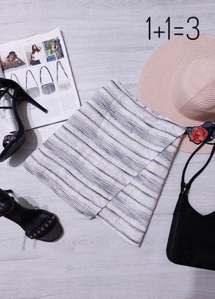 Gap стильная мини юбка s-m в полоску асимметрия короткая на талию прямая тренд базовая классика