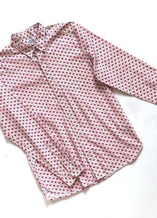 Рубашка мужская качественная котоновая бежевая розовая некст