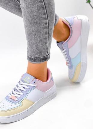 Рр 36-41. разноцветные белые кроссовки4 фото