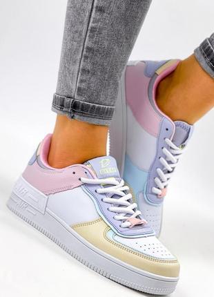 Рр 36-41. разноцветные белые кроссовки5 фото