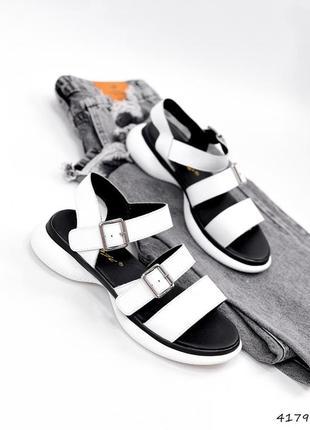 Рр 36-41. белые кожаные босоножки сандалии из натуральной кожи