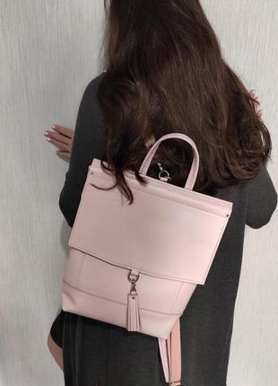 Рюкзак из натуральной кожи в нежном розовом цвете
